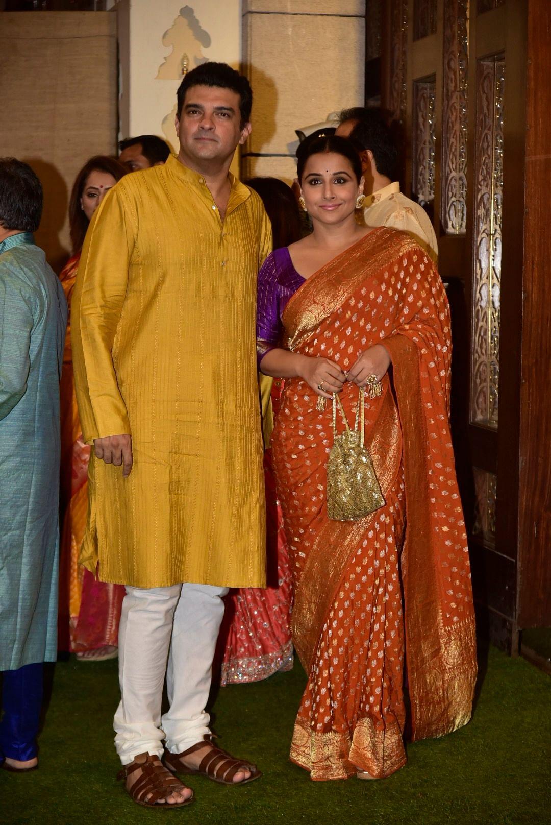 Vidya Balan with husband Siddharth Roy Kapur at Antilia Ganpati celebration