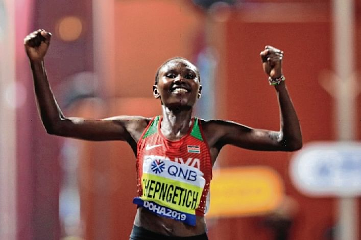 Ruth Chepngetich digs deep to win the first gold medal of the championships