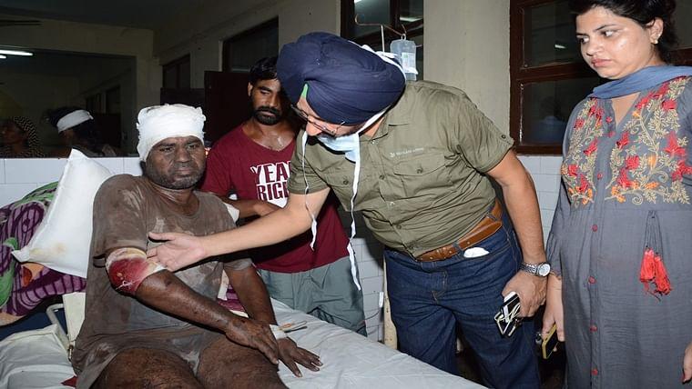 Punjab CM Captain Amarinder Singh meets victims of Batala factory blast