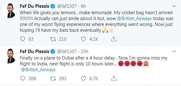 Faf du Plessis tweets