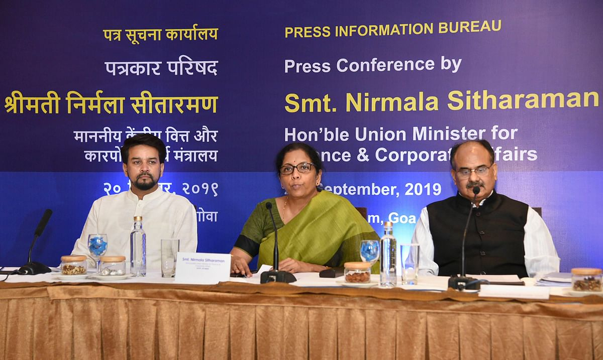 Panaji: Finance Minister Nirmala Sitharaman addresses a press conference ahead of the 37th meeting of the GST Council, in Panaji, Friday, Sept. 20. 2019.  MoS Finance Anurag Thakur and Revenue Secretary Ajay Bhushan Pandey are also seen.