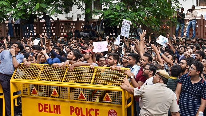 Students of the Institute of Chartered Accountants of India (ICAI) stage a protest outside its office near ITO over alleged improper eveluation of their answer sheets, in New Delhi, Tuesday, Sept. 24, 2019.