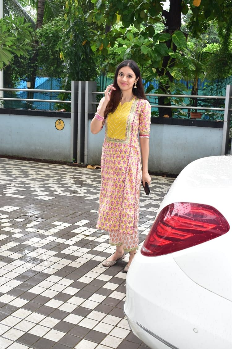Mohit Raina and Divya Khosla Kumar snapped by paps at Emmay Entertainment & Motion Pictures office.