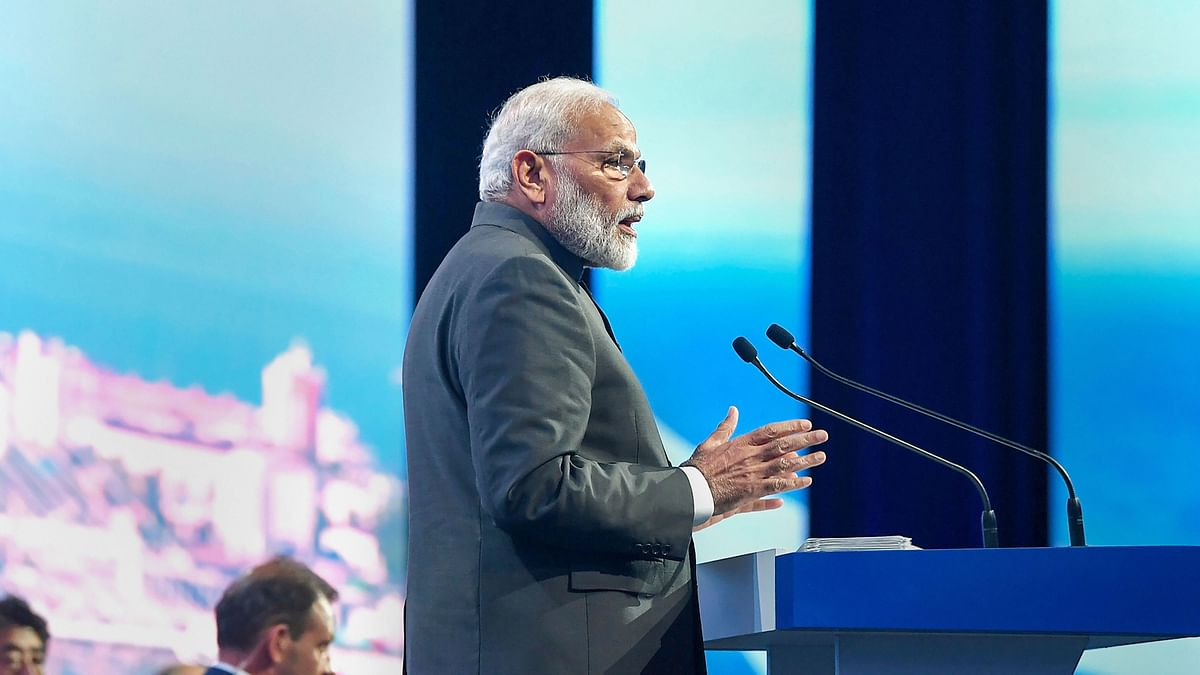 Prime Minister Narendra Modi addresses at the plenary session of 5th Eastern Economic Forum (EEF), at Vladivostok, in Russia, Thursday, Sept 5, 2019