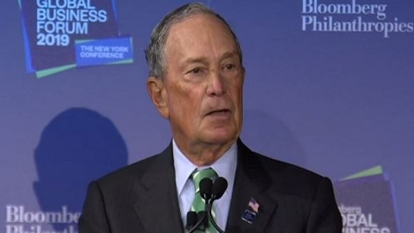 Michael Bloomberg speaking at the Bloomberg Global Business Forum in New York