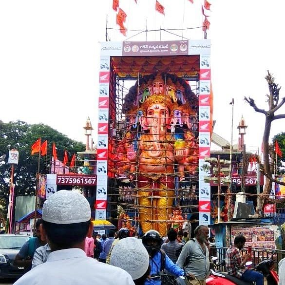 Khairatabad Ganesh is sculpted at 61 feet height & is claimed to be the tallest murti in India by organizers.