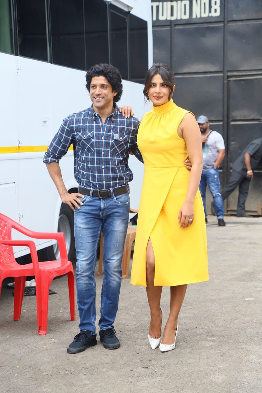 Priyanka Chopra Jonas with Farhan Akhtar at the promotion of 'The Sky Is Pink'.