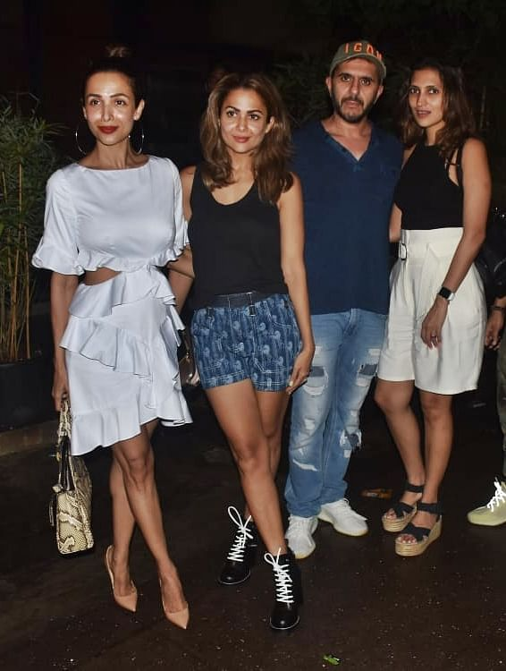 Malaika Arora was joined by sister Amrita Arora and her gang at Pali Bhavan.
