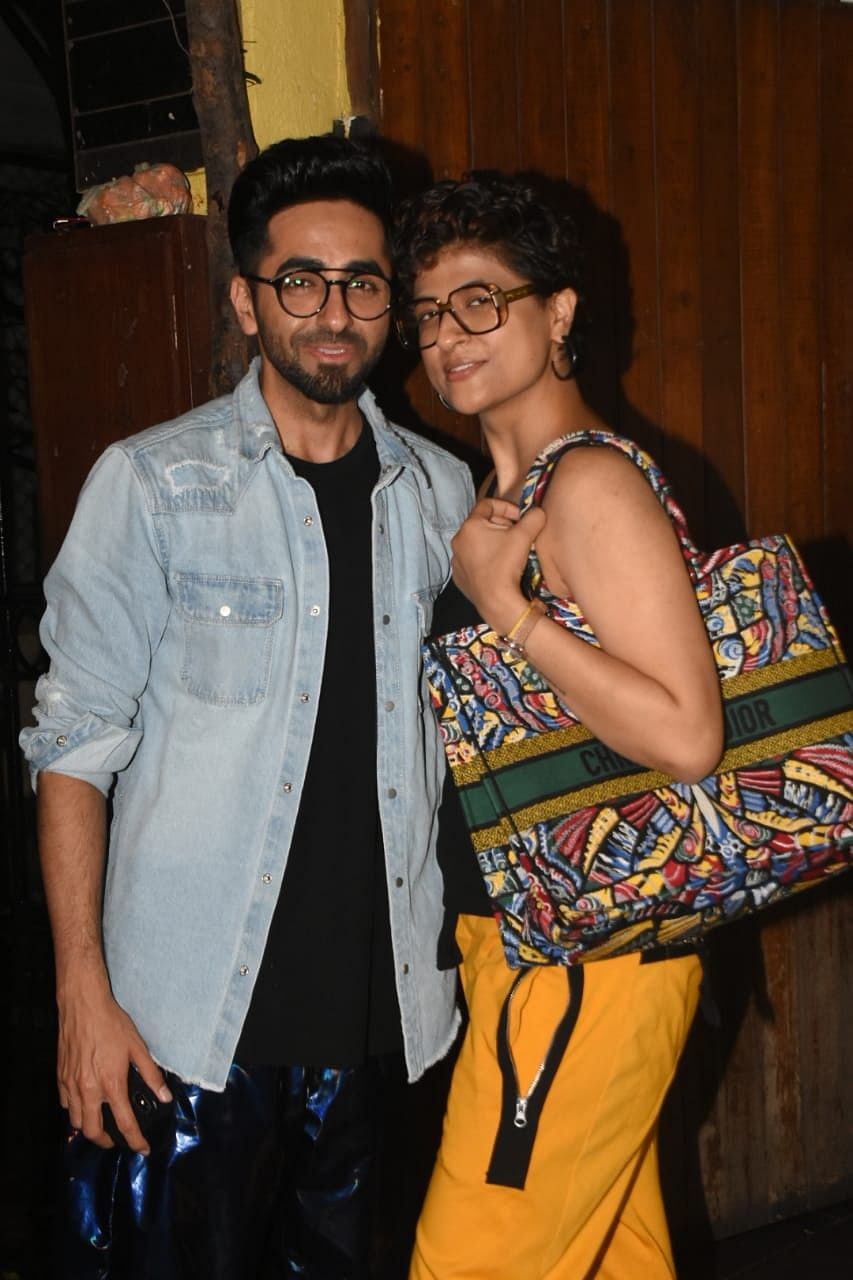 Ayushman Khurrana with wife Tahira Kashyap snapped at Chi Chin Chu restaurant in Mumbai.