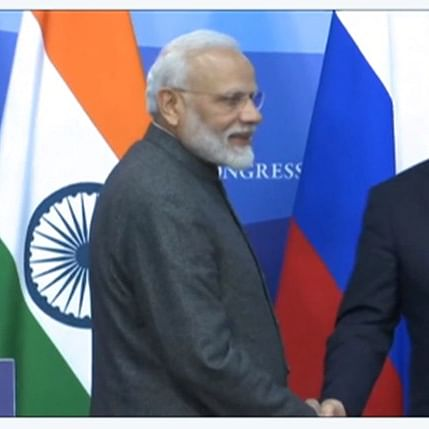 Vladimir Putin by his side, PM Modi slams 'outside influence' in internal matters