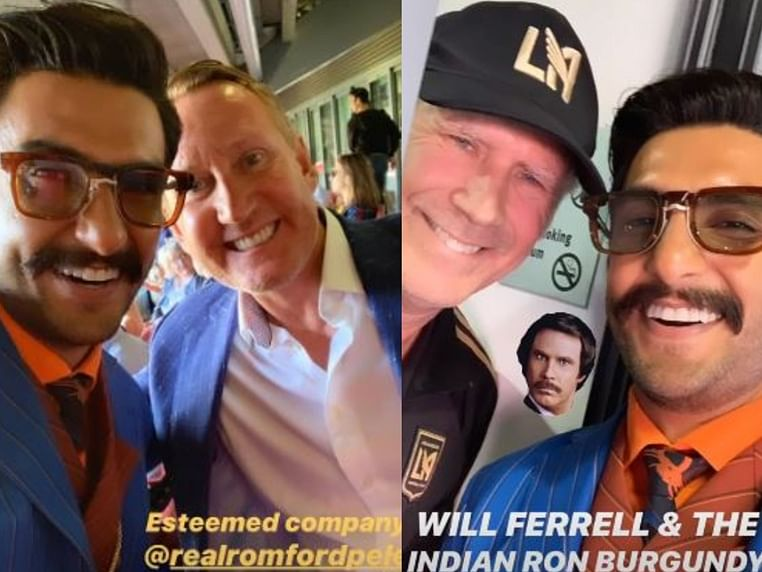 Arsenal fan Ranveer Singh poses with Will Ferell, Ray Parlour