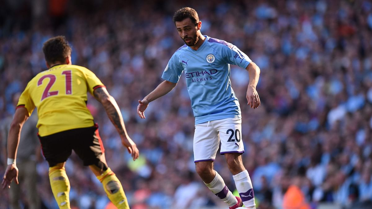 Manchester City's Portuguese midfielder Bernardo Silva controls the ball during the English Premier League football match between Manchester City and Watford at the Etihad Stadium in Manchester, north west England, on September 21, 2019