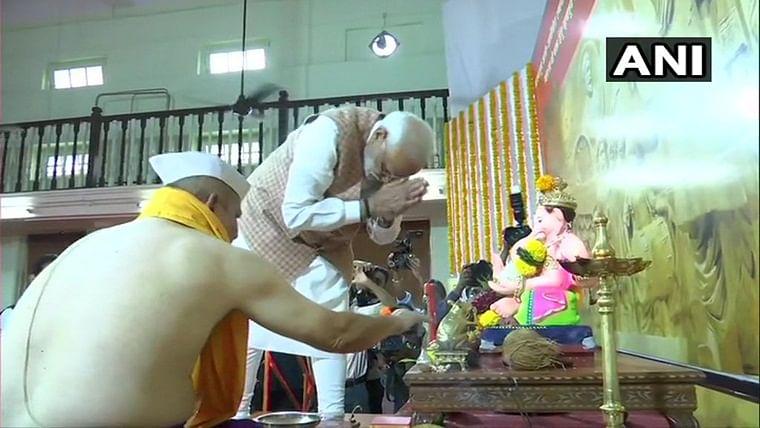 PM Narendra Modi takes 'darshan' of Lord Ganesha in Mumbai's Lokmanya Seva Sangh