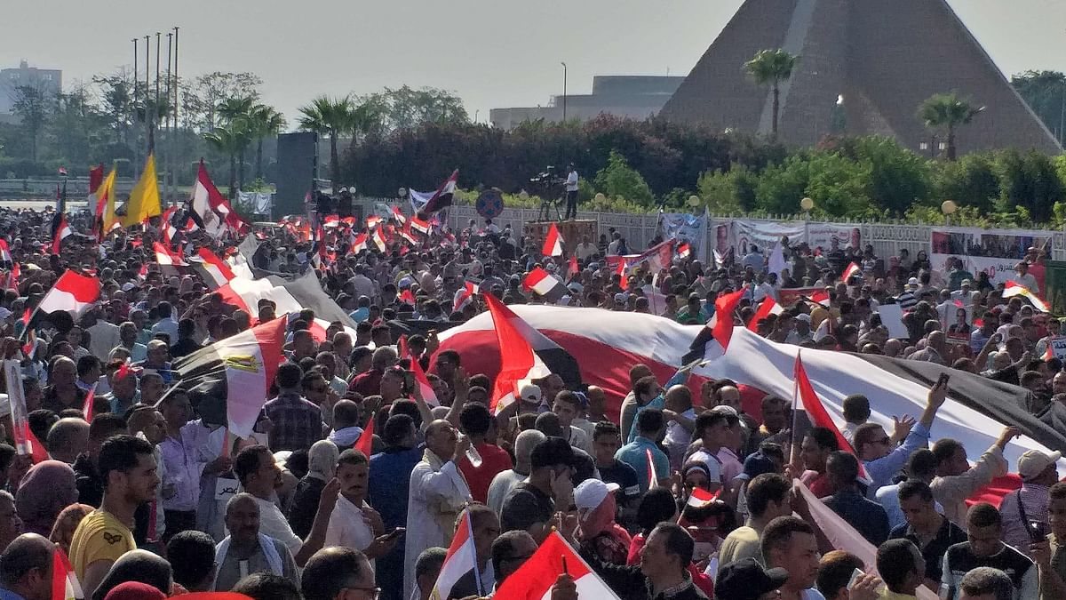 Supporters of Egyptian President Abdel Fattah al-Sisi rally near the Unknown Soldier Memorial in the eastern Nasr City district of Egypt's capital Cairo on September 27, 2019