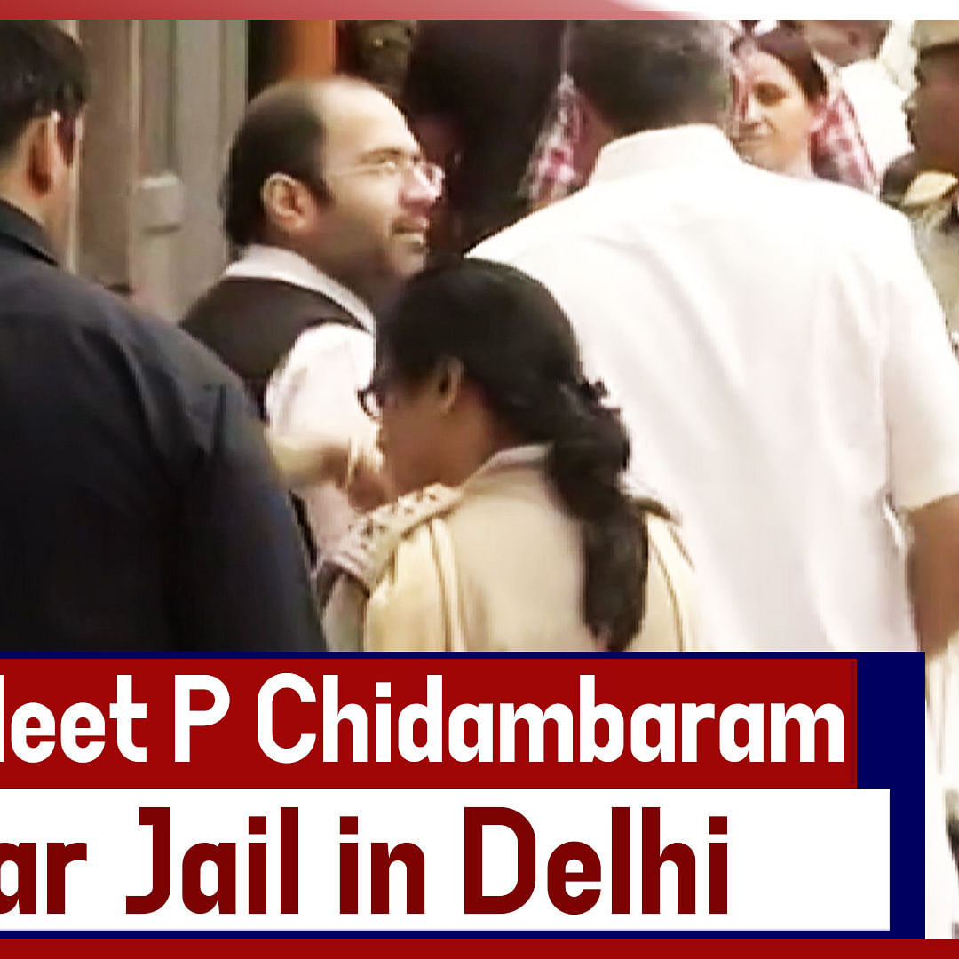 Karti Chidambaram Meet P Chidambaram At Tihar Jail In Delhi