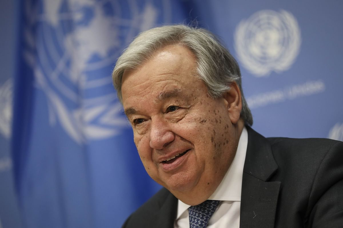 United Nations Secretary-General Antonio Guterres speaks at a news conference at UN headquarters in New York City.