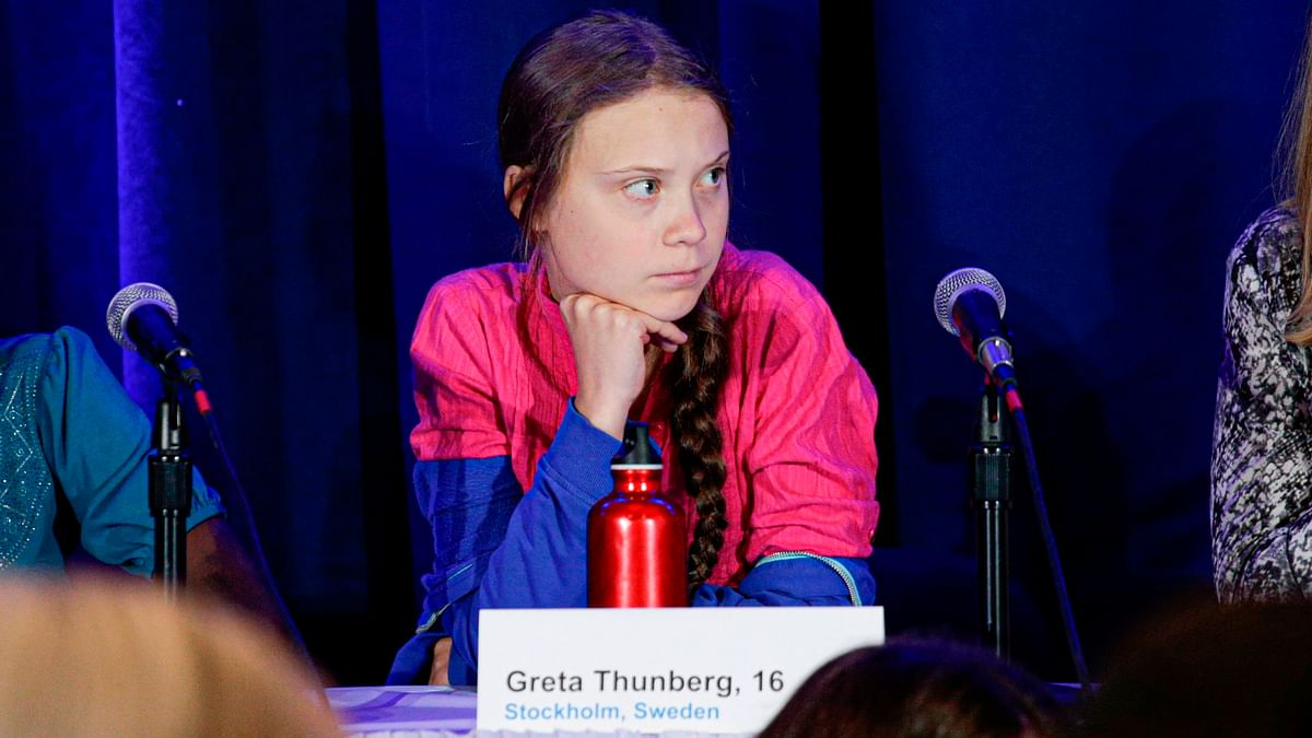 Activist Greta Thunberg attends a press conference where 16 children from across the world, present their official human rights complaint on the climate crisis to the United Nations Committee on the Rights of the Child at the UNICEF Building in New York City.