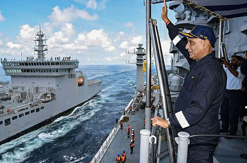 Aboard The INS Vikramaditya: Union Defence Minister Rajnath Singh on board the aircraft carrier INS Vikramaditya which is currently sailing along India's western coastline, Sunday, Sept. 29, 2019. (PTI Photo) (PTI9_29_2019_000164B)