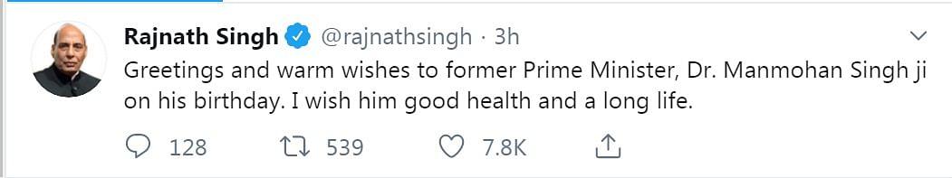 Defence Minister Rajnath Singh's tweet