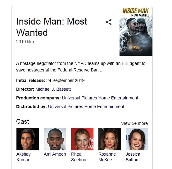 Here's why Akshay Kumar pops up if you type 'Inside man most wanted' on Google