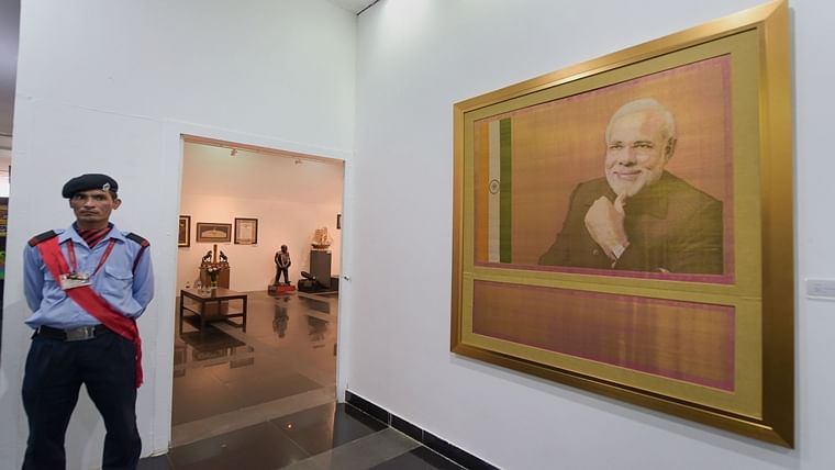 The portrait of PM Modi is priced highest among the 2722 mementos, which have been gifted to the prime minister, and displayed at the exhibition.