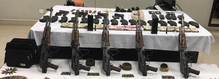 Five AK-47 rifles, 16 magazines and 472 rounds of ammunition, four Chinese-made .30 bore pistols, along with eight magazines and 72 rounds of ammunition; nine hand grenades, five satellite phones with their ancillary equipment, two mobile phones, two wireless sets