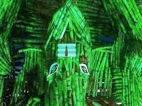 In Andhra Pradesh,devotees make Ganesh idol of sugarcane in Krishna district.