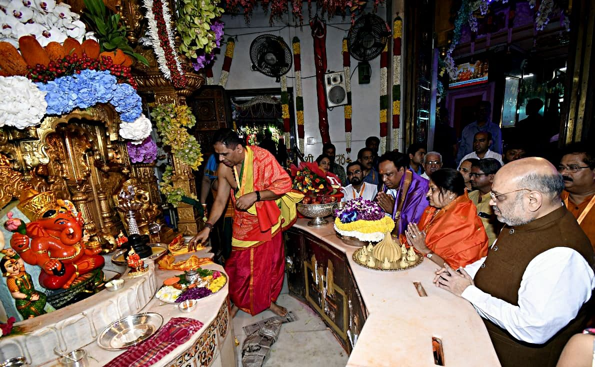 Union Home Minister Amit Shah with his wife Sonal Shah offers prayers on the occasion of Ganesh Chaturthi festival at Shree Siddhivinayak Ganapati Temple, in Mumbai