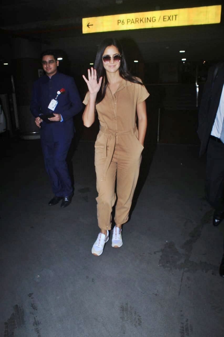 Bharat' actress Katrina Kaif clicked by paps at the airport.