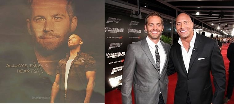 The late Paul Walker with Dwayne Johnson