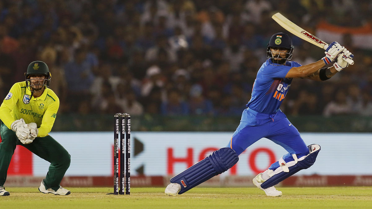Indian batsman Virat Kohli plays a shot during the 2nd T20 match between India and South Africa at PCA stadium in Mohali on Wednesday