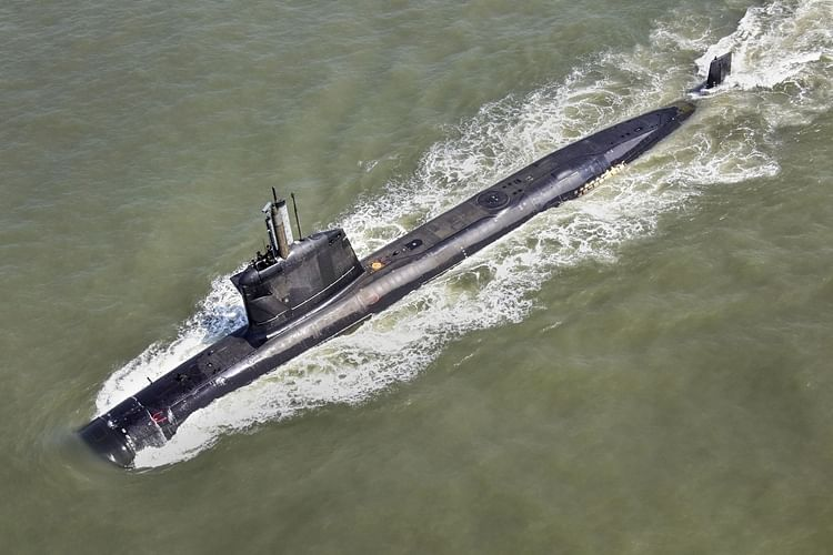 Submarine Khanderi during a phases of sea trials. The submarine will get commissioned by the Defence Minister Rajnath Singh in Mumbai.