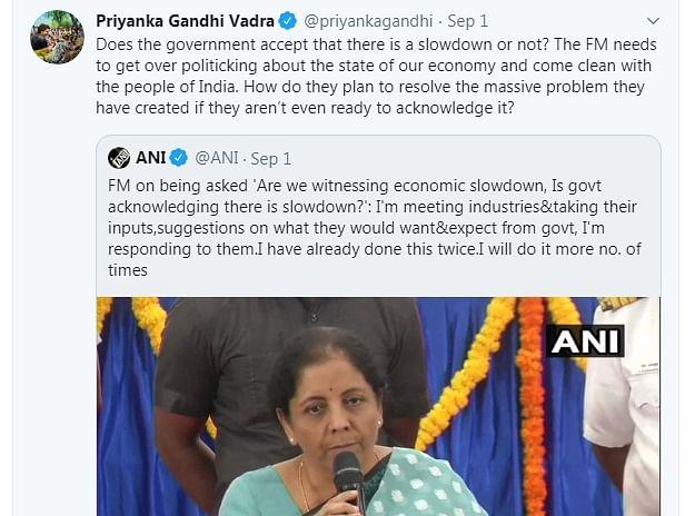 Modi government's silence on economic slowdown very dangerous: Priyanka Gandhi