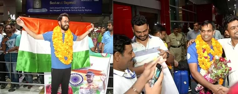 ISSF World Cup winners Abhishek Verma, Deepak Kumar accorded a rousing welcome in Delhi