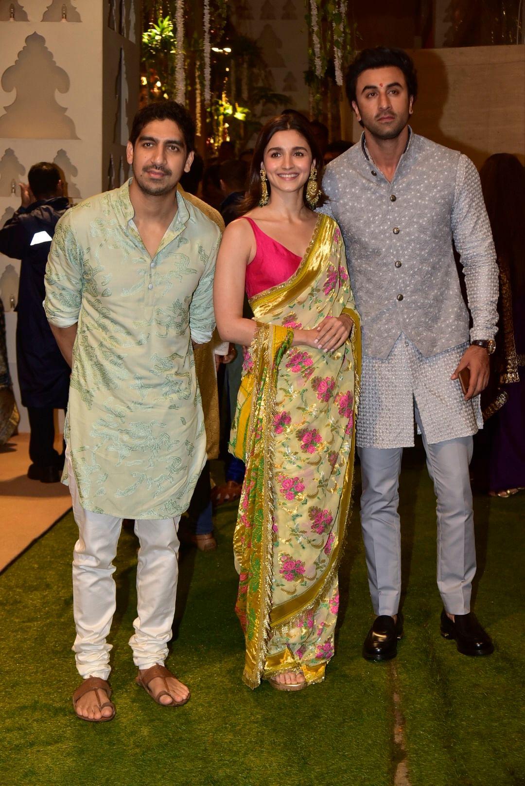 Ayan Muerki with Alia and Ranbir at Ambani's Ganpati festival celebrations