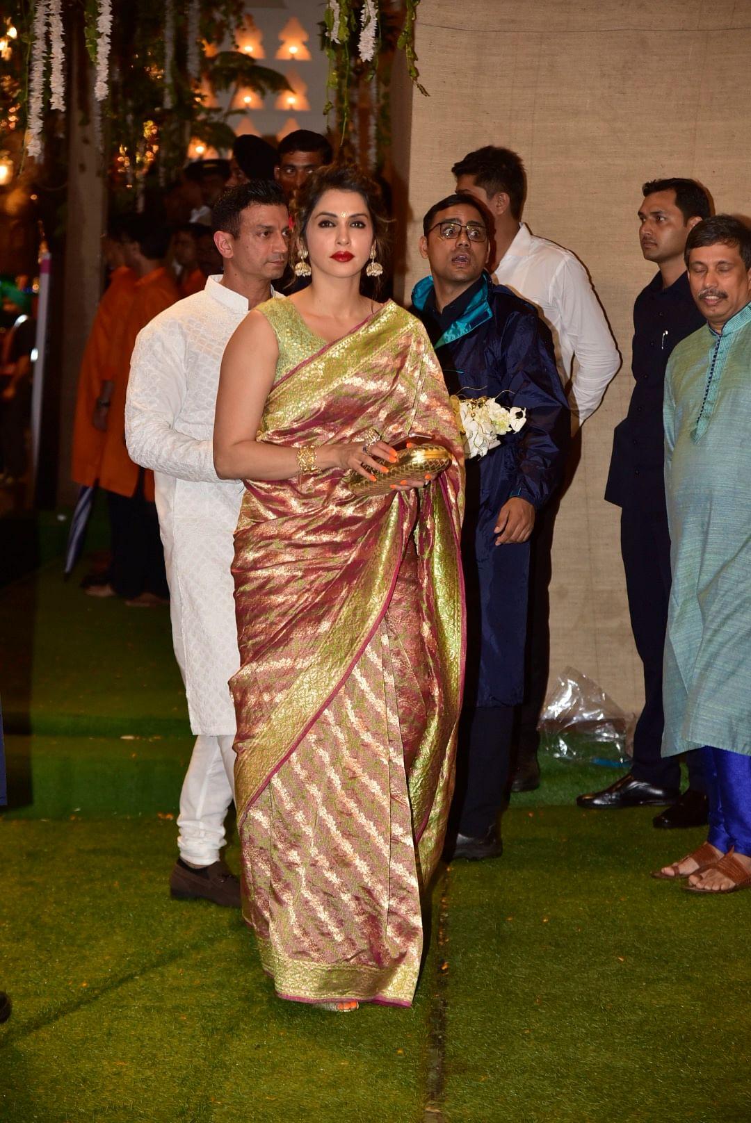 Isha Koppikar and husband Timmy Narang for Ganesh Chaturthi celebration