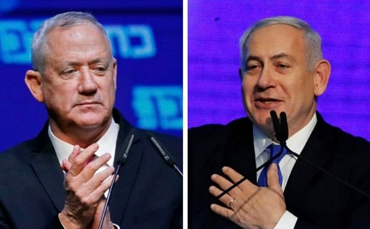 (from left) Blue and White party leader Benny Gantz and  Israel's Prime Minister Benjamin Netanyahu