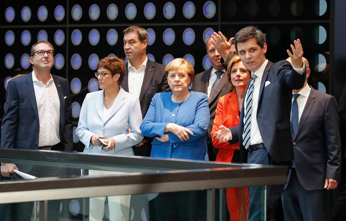 (L-R) Alexander Dobrindt, Annegret Kramp-Karrenbauer, Markus Soeder, German Chancellor Angela Merkel, German Chief of Staff Helge Braun, Malu Dreyer  and German Finance Minister and Vice-Chancellor Olaf Scholz (hidden R)