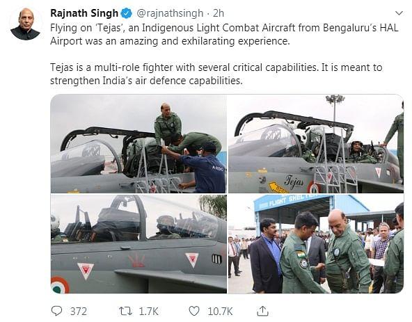 Rajnath Singh's tweet