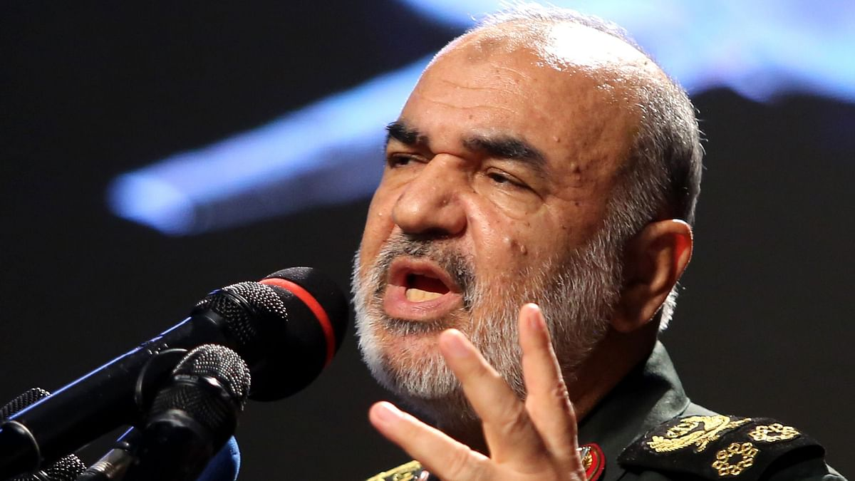 Iranian Revolutionary Guards commander Major General Hossein Salami speaks at Tehran's Islamic Revolution and Holy Defence museum, during the unveiling of an exhibition of what Iran says are US and other drones captured in its territory, on September 21, 2019.