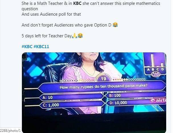 Simple math question troubles math teacher in an episode of KBC 11