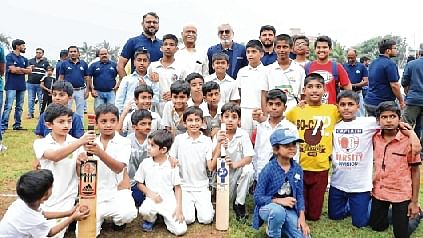 Academy boys make a happy picture (Inset) Gurunath Sharma,  father of Indian cricketer, Rohit Sharma