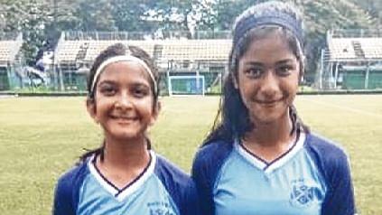 Bombay Scottish strikers Shreya Ravuri (left) and Dia Agarwal