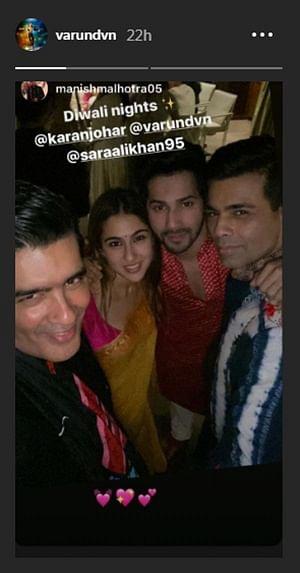 Varun Dhawan enjoys Diwali party with Sara Ali Khan, Karan Johar and Manish Malhotra