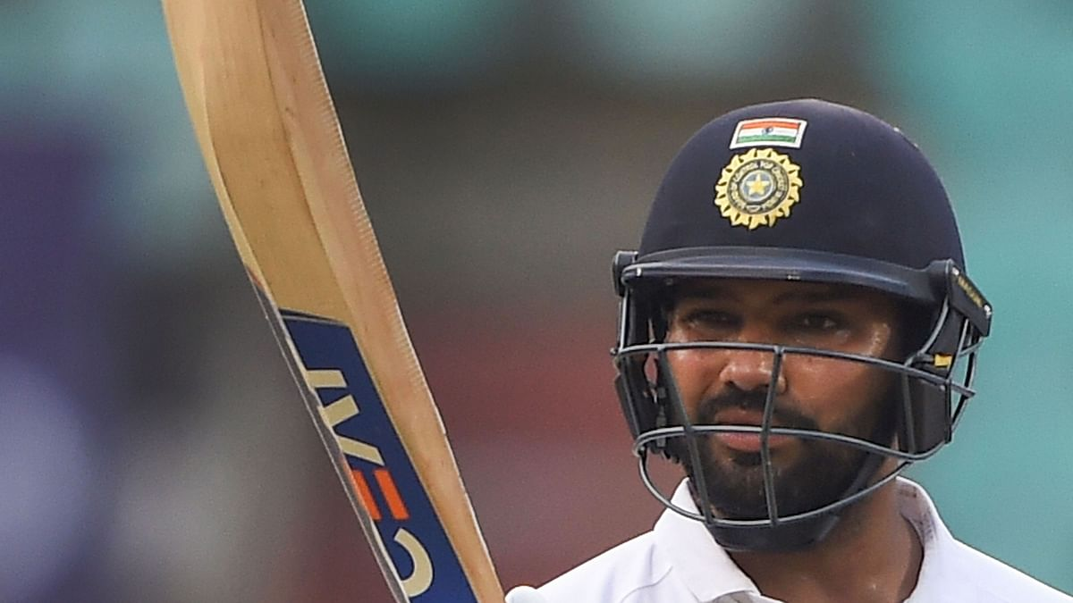 India's Rohit Sharma reacts after he was stumped by South Africa's Quinton de Kock on the fourth day of the first cricket test match, at Dr YS Rajasekhara Reddy ACA-VDCA Cricket Stadium, in Visakhapatnam