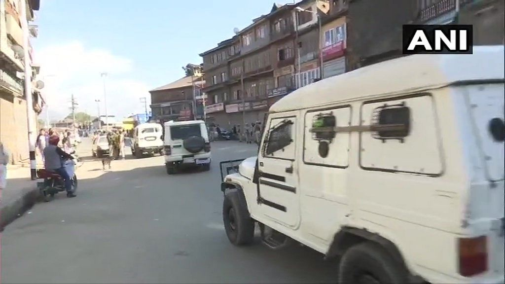 Search operation underway at Hari Singh High Street in Srinagar following a grenade attack earlier today.