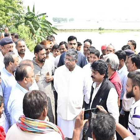 Bihar: RS Prasad visits flood-hit Taranpur, reviews relief, rescue operations
