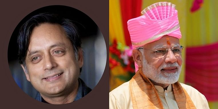 (from left)Congress leader Shashi Tharoor and  Prime Minister Narendra Modi