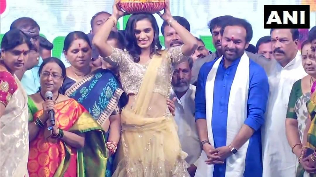 Watch: PV Sindhu participates in Bathukamma festivities with Union Minister of State, G Kishan Reddy