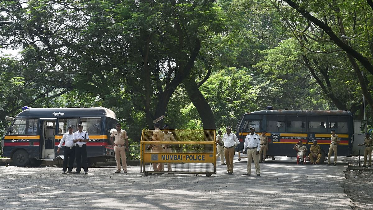 Police cordon off the area following a protest against the tree-cutting that had been carried out for the Metro car shed project at Aarey colony in Mumbai